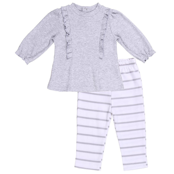 Baby Outfit with Ruffle Tunic with Gray Striped Pants