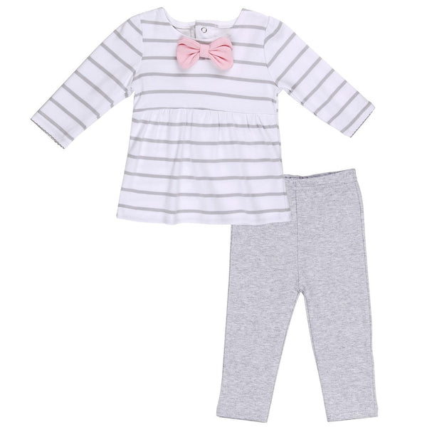 Baby Outfit with Striped Tunic and Double Bow detail and Heather Gray Pants