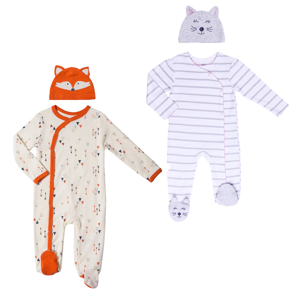 Boy-Girl Twin 4-Piece Footie and Hat Set