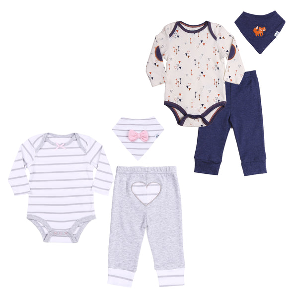 Boy-Girl Twins Outfits 6-Piece Set