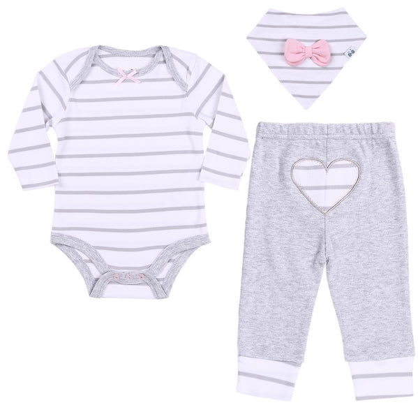 Baby Outfit with Striped Bodysuit, Heather Gray Pants and Bandana Bib
