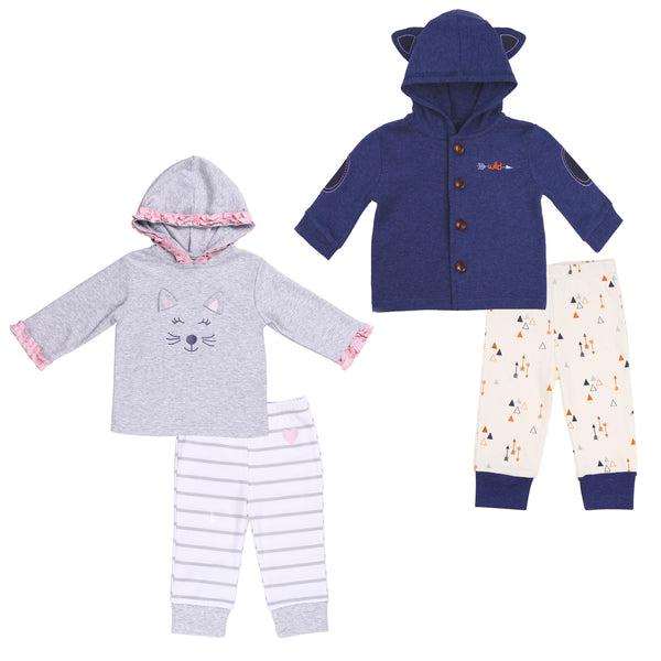 Boy-Girl Twin 4 Piece Hoodie Set