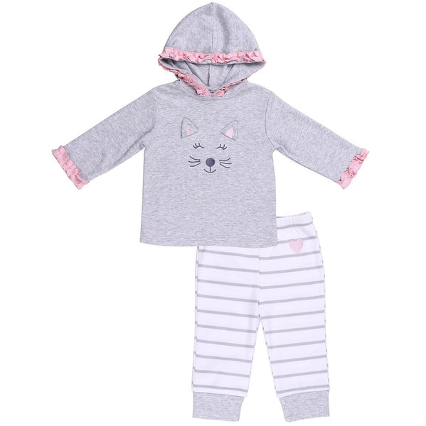 Baby Hoodie with Ruffle Trim and Bear Embroidery and Striped Pants