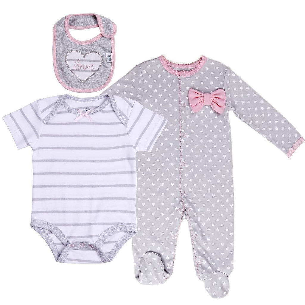 Baby Layette Set with Polka Heart Footie, Bodysuit and Bib