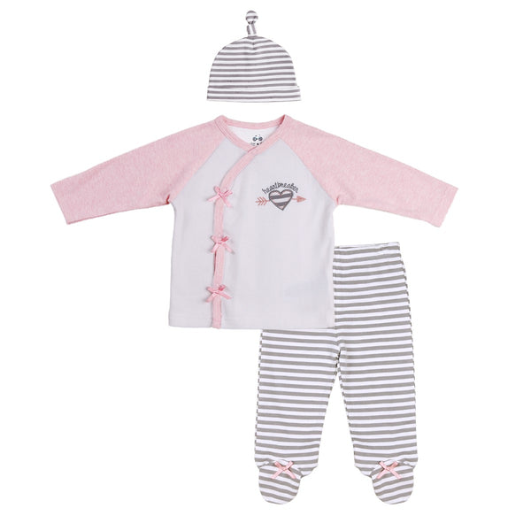 Baby Outfit with Kimono Style Stop, Hat and Footed Pants