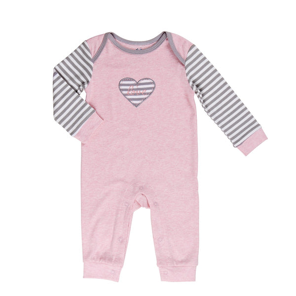Baby Romper with Envelope collar and striped sleeves