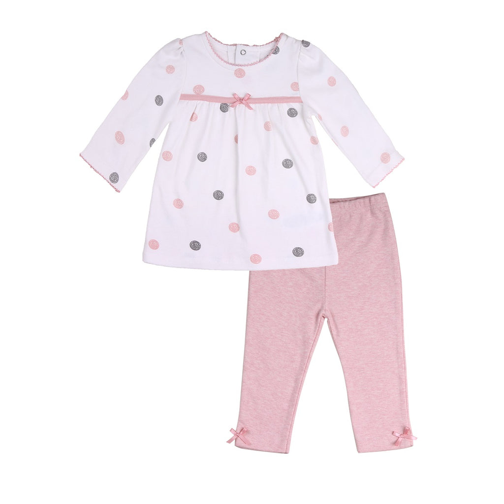 Baby Outfit with White Dotted Tunic and Pink Pants