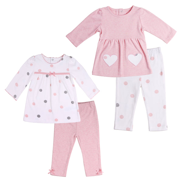 Baby Twin Girl 4-Piece Tunic Outfit Set