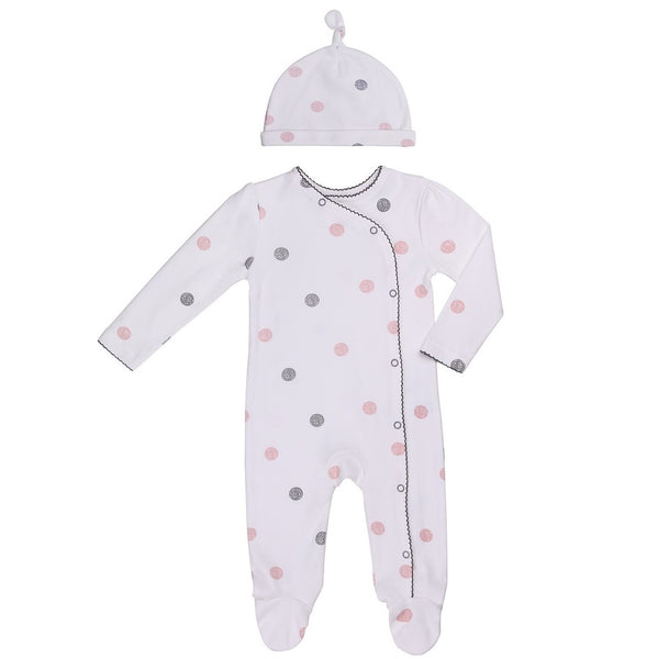 Baby Footie in Dotted Print with Matching Cap
