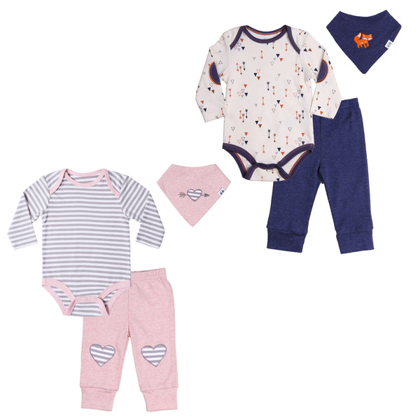 Matching Twin Boy-Girl Body Suit, Pant and Bib set