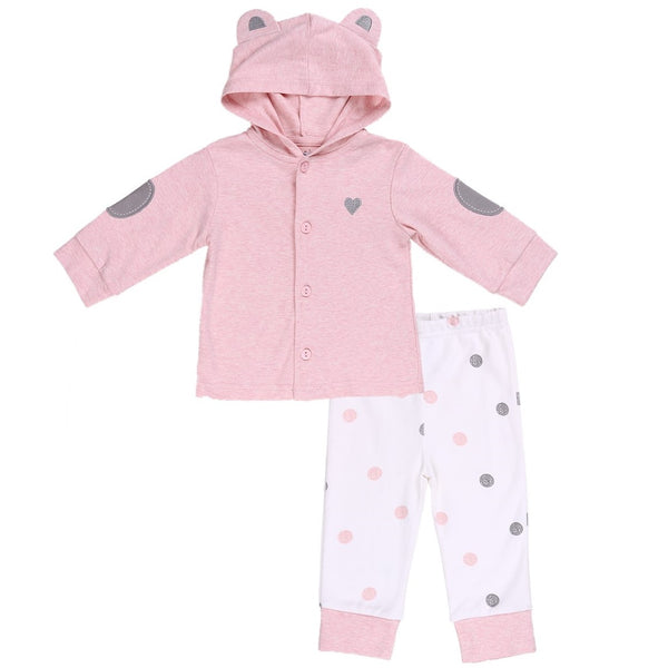 Pink Baby Hoodie with 3D Bear Ears