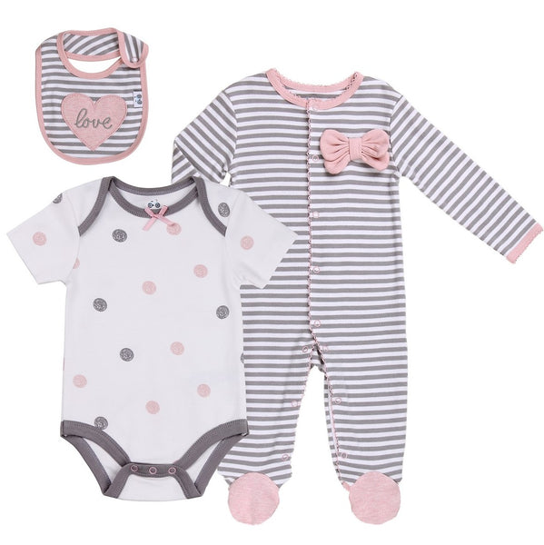 Baby Layette Set with Striped Footie, Bodysuit and Bib