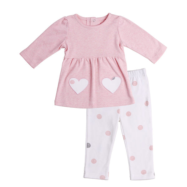 Baby Outfit (Pink Tunic with Heart Patches and White Dotted Pants)