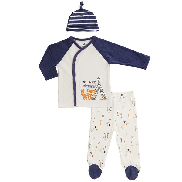 Baby Set with Kimono Top, Striped Cap and Footed Pants