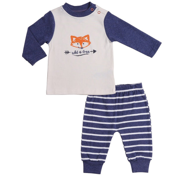 "Baby outfit with white ""wild & free"" tee and navy striped pants"