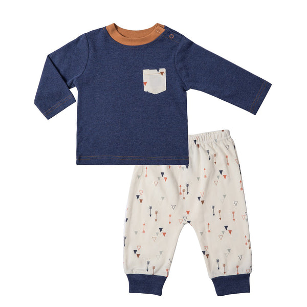 Baby Outfit with Navy Tee w/ Pocket and Arrow Print Pants