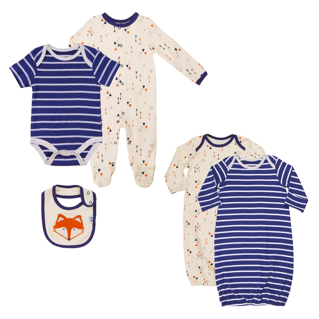 Twin Baby Boys 5-Piece Sleepwear and Outfit Set