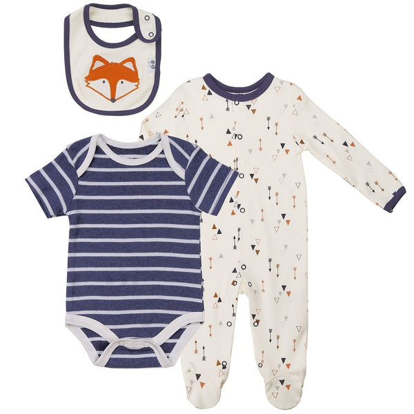 Baby Layette Set with Arrow Print Footie, Bodysuit and Bib