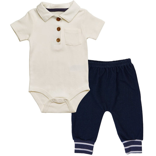 Baby Polo with Button and Knit Demin pants