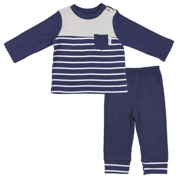 Baby Striped Tee in Navy with Navy Pants and Striped Cuff