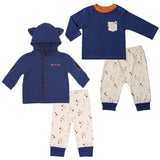 Twin Boy Outfit Set (Navy Top and Arrow Print Pants