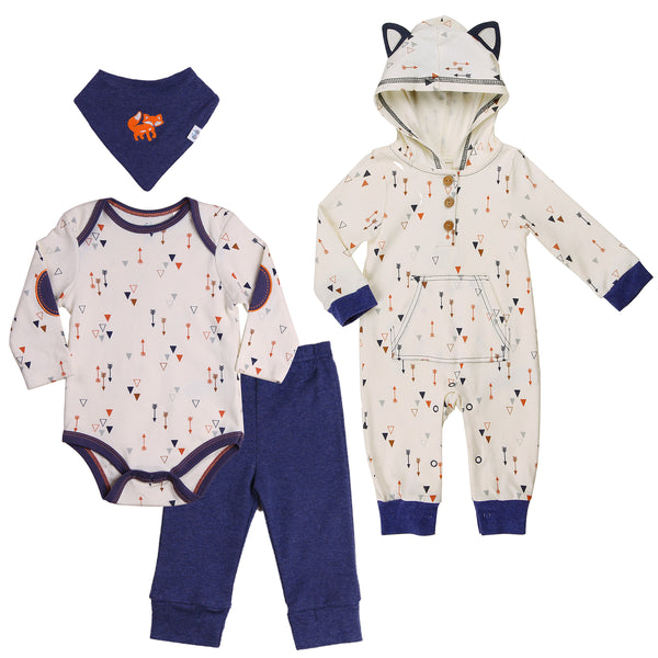 Matching Baby Boy Outfits with Navy Trims and Arrow Prints
