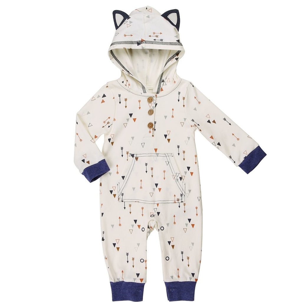 Baby Coverall with Hood and 3D Fox Ear Detail