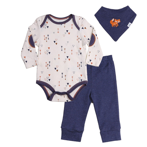 Baby Outfit set with Bodysuit, navy pants and bandana bib