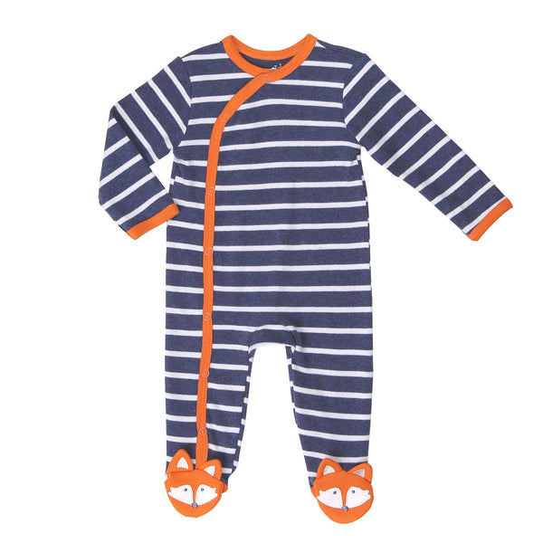 Navy Striped Baby Footie with Fox Detailing