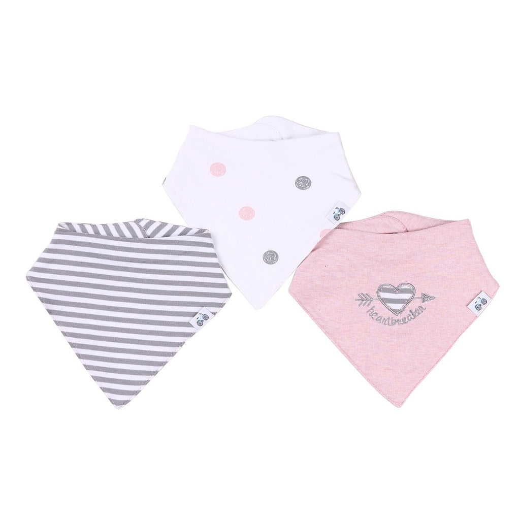 Bandana Bibs Set (Dark Gray and White Stripes, Heart Patch, and polka Dots)