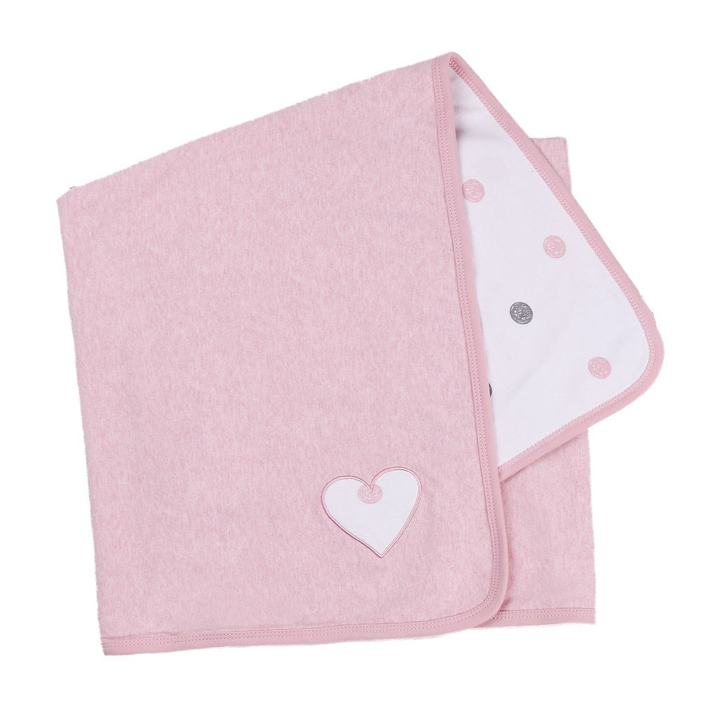 Dusty Heather Pink Blanket with Heart Patch
