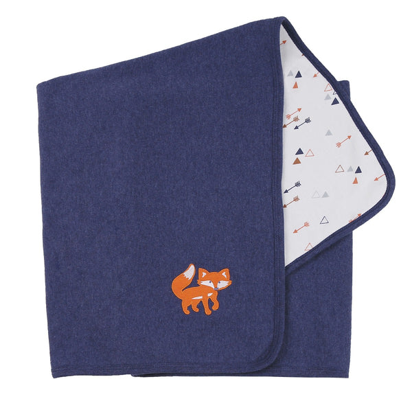 Fox Embroidery on Navy Blanket with Arrow Print