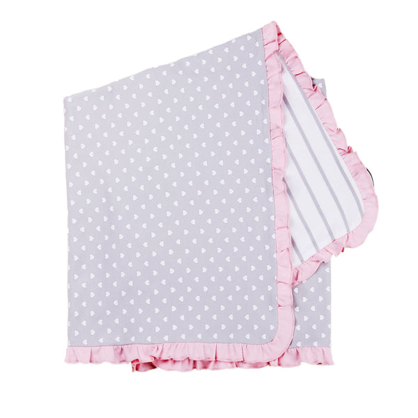 Reversible Baby Cotton Blanket in Polka Dot Heart and Striped