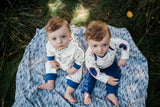 Baby Twin Boys in Matching Navy and Heart Outfits
