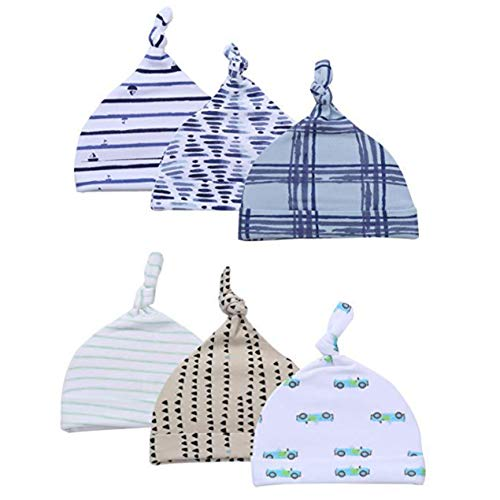 Top Knot Baby Hat 6-Piece Set for Boys Knotted Newborn Infant Beanie Caps