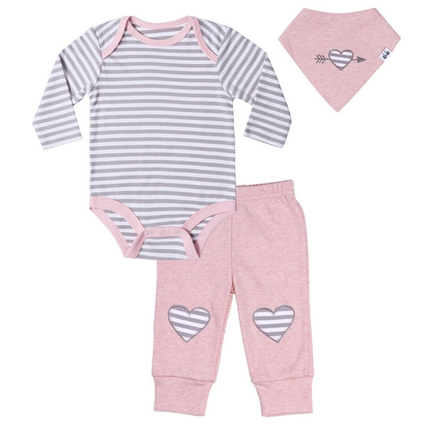 Baby outfit with Striped Bodysuit, Pink Pants and Bandana Bib