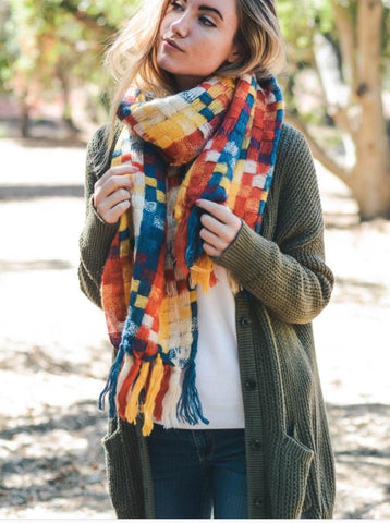 Beautiful Warm Blue, Red & Yellow Mix Patchwork Long Tassel Scarf