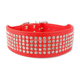 5 Rows Full Diamante Rhinestone Leather Dog Collars Pet Products 8 Colors 2inch Wide