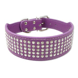 5 Rows Full Diamante Rhinestone Leather Dog Collars Pet Products 8 Colors 2inch Wide | calizota