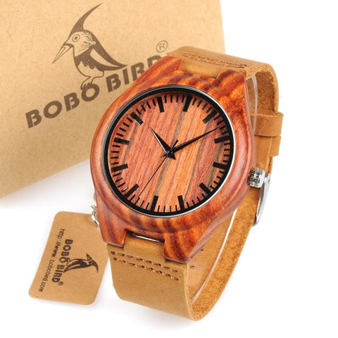 Bobo Bird WL15 Classic Design Red Wooden Watches with Soft Leather Band and Gift Box