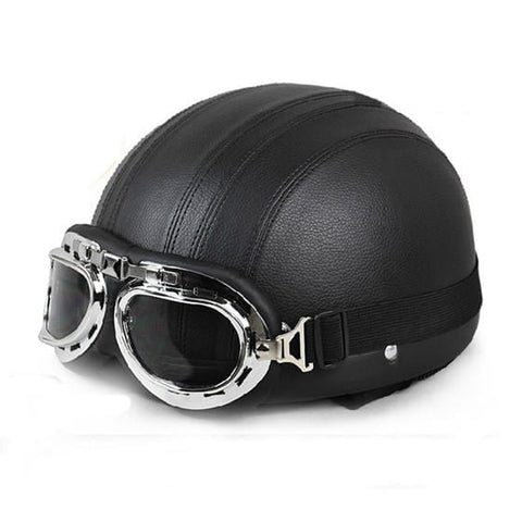 e0b8abb8 Cycling Open Face Half Leather Helmet with Visor UV Goggles Retro Vintage  Style 54-60cm