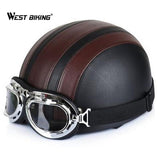 Cycling Open Face Half Leather Helmet with Visor UV Goggles Retro Vintage Style 54-60cm Professional Moto Scooter Bicycle Helmet