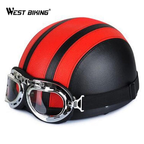 Cycling Open Face Half Leather Helmet with Visor UV Goggles Retro Vintage Style 54-60cm Professional Moto Scooter Bicycle Helmet | calizota