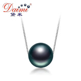 DAIMI On Sale 10-11mm Black Tahitian Pearl Necklace 925 Silver Chain Necklace Single Pearl Pendant Necklace  Fine Jewelry | calizota