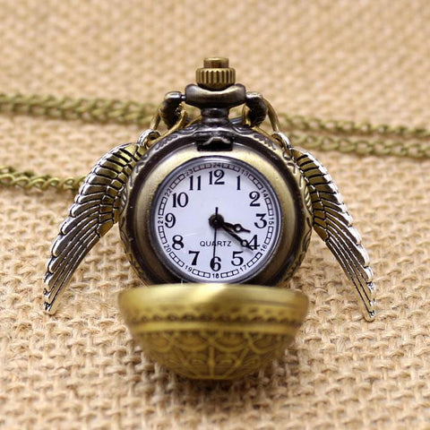 Free Drop Shipping Elegant Golden Snitch Quartz Fob Pocket Watch With Sweater Necklace Chain | calizota