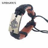 LINDAJOUX Fashion 12 Constellations Zodiac Signs Charm Bracelet With Rope Black Leather Bracelet for Men Women | calizota