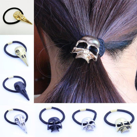 Punk Gothic Raven Skull Elastic Hair Tie Band Metal Hair Accessories