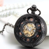 Lancardo Steampunk Men And Women Clock Transparent Mechanical Black See Though Face Retro Ver Vintage Pendant Pocket Watch Gift | calizota