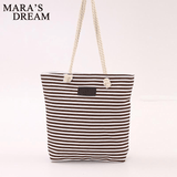 Mara's Dream Fashion Canvas Stripe Zipper Handbag Shopping Shoulder Bag