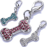 Rhinestone Dog Tag Crystal Bone Shaped Charms For Dog Collars Lobster Clasp Jewelry Pendant Dog Accessories Pet Products
